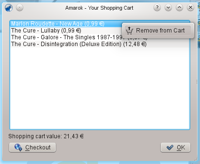Shopping cart context menu